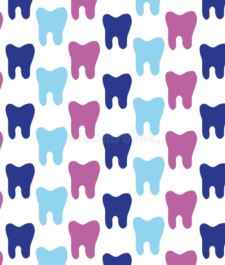 Vrolijk patroon van multi-colored tanden Textuur voor tandartsen stock illustratie