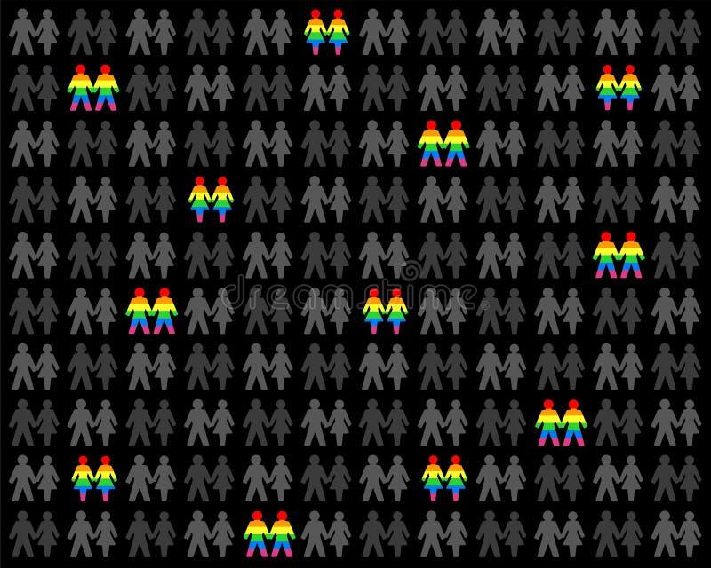 Vrolijk Pride People Rainbow Flag Homo Hetero royalty-vrije illustratie