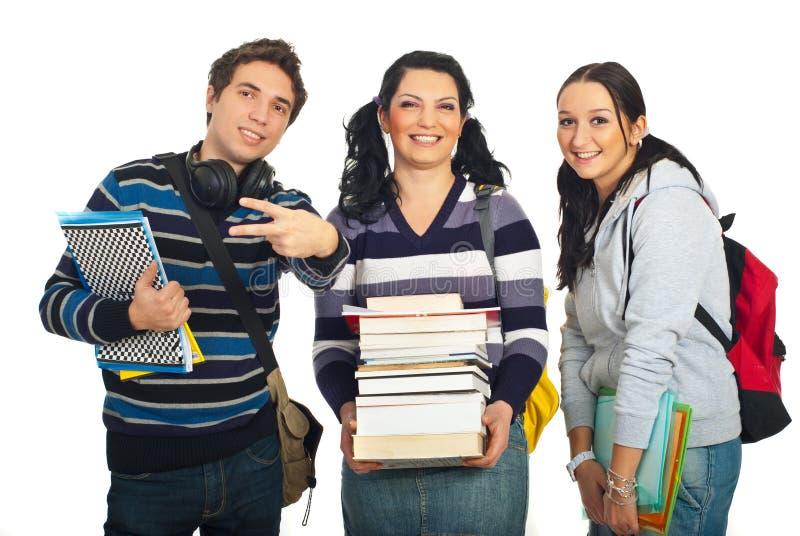 Vrolijk team van studenten royalty-vrije stock fotografie