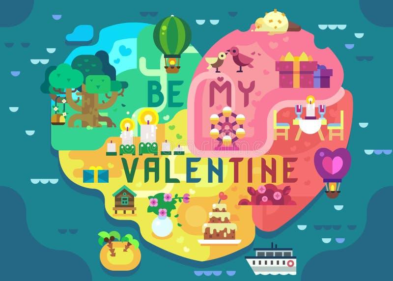 Vrolijk Valentine Greeting Card royalty-vrije illustratie