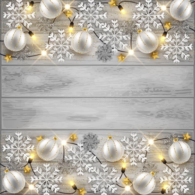Vrolijk van het Kerstmisnieuwjaar ontwerp als achtergrond, decoratieve snuisterijen a royalty-vrije illustratie