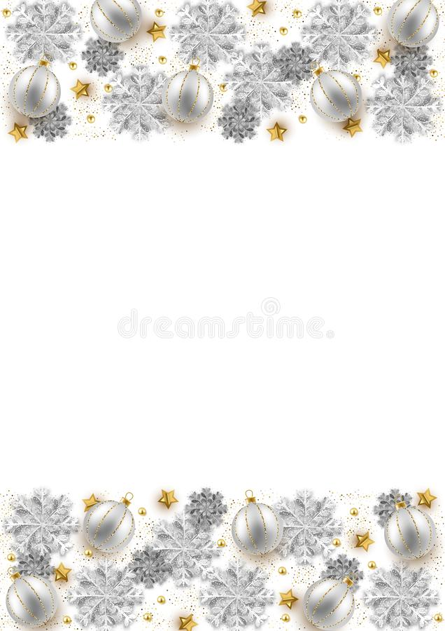 Vrolijk van het Kerstmisnieuwjaar ontwerp als achtergrond, decoratieve snuisterijen a stock illustratie