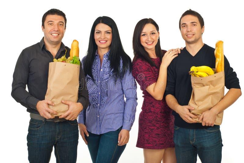 Vrolijk vrienden het winkelen voedsel royalty-vrije stock foto's