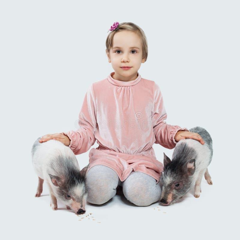 Vrolijk weinig kindmeisje en varkens Kind en huisdieren stock foto's