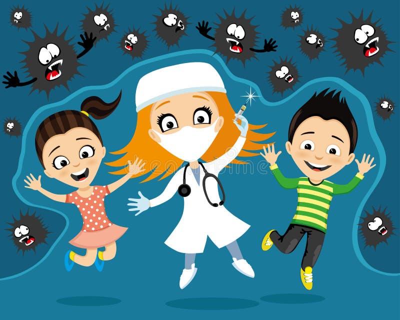 Vrolijke arts met een spuit en kinderen royalty-vrije illustratie