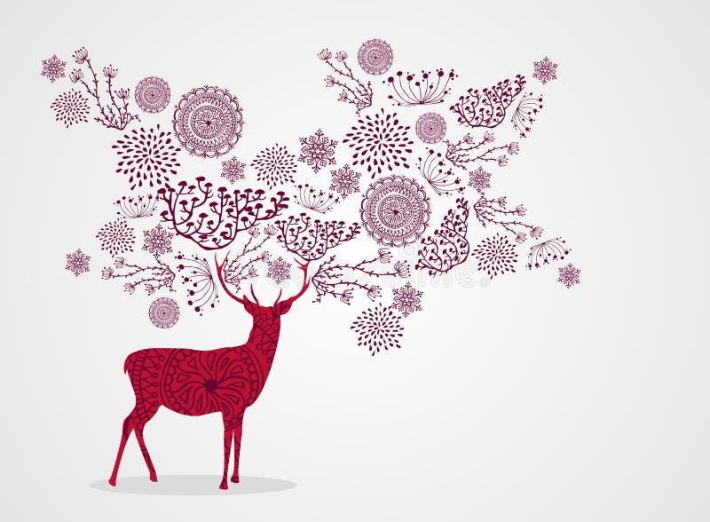 Vrolijke backgro van het Kerstmis uitstekende mooie rendier vector illustratie