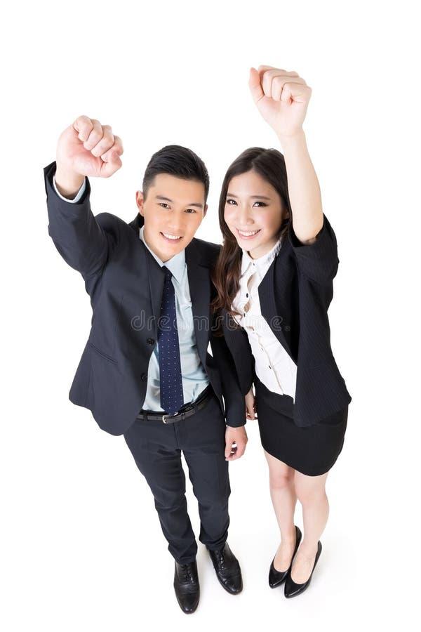 Vrolijke bedrijfsman en vrouw stock afbeelding