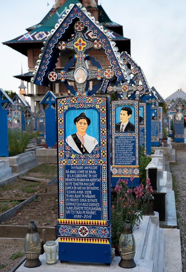 Vrolijke begraafplaats in Sapanta, Maramures stock foto's