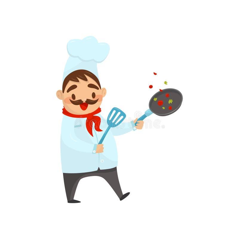 Vrolijke chef-kok in proces om voedsel te koken Mens met pan en spatel in handen De kok kleedde zich in traditionele eenvormig vl stock illustratie