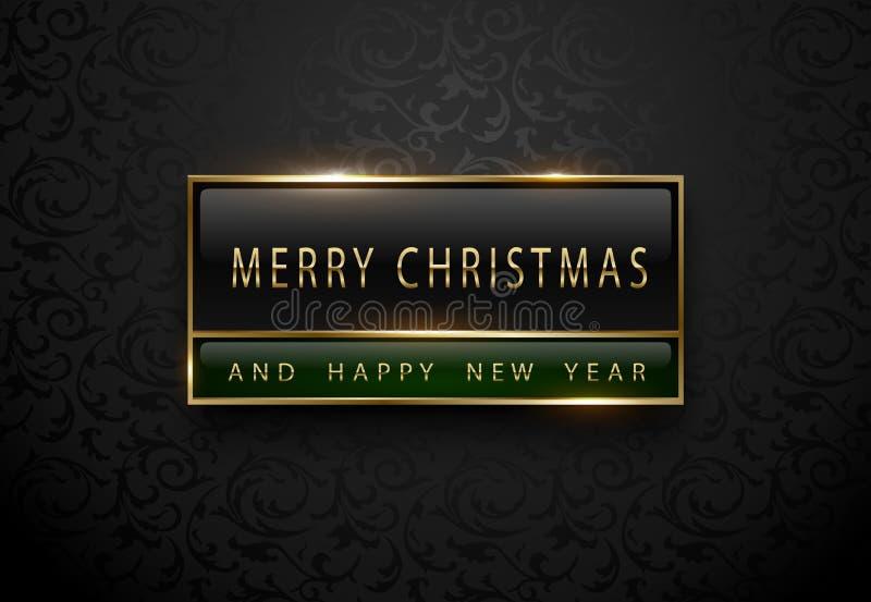 Vrolijke Chistmas en gelukkige nieuwe jaarbanner Premie zwart groen etiket met gouden kader op zwarte bloemenpatroonachtergrond d stock illustratie