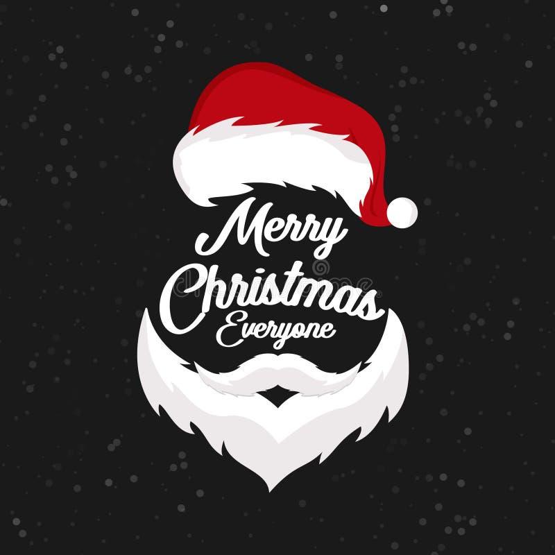 Vrolijke Chrismas iedereen Santa Beard stock illustratie