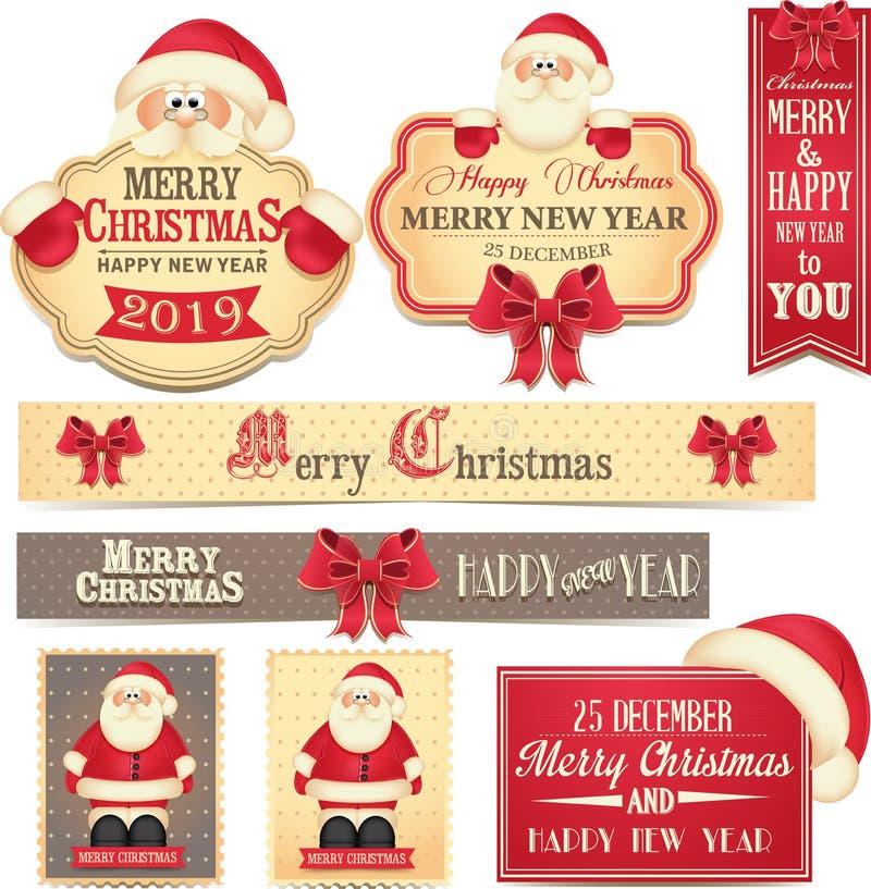 Vrolijke Christamas en Gelukkige Nieuwjaarbanners met leuke rode boog en Santa Claus vector illustratie
