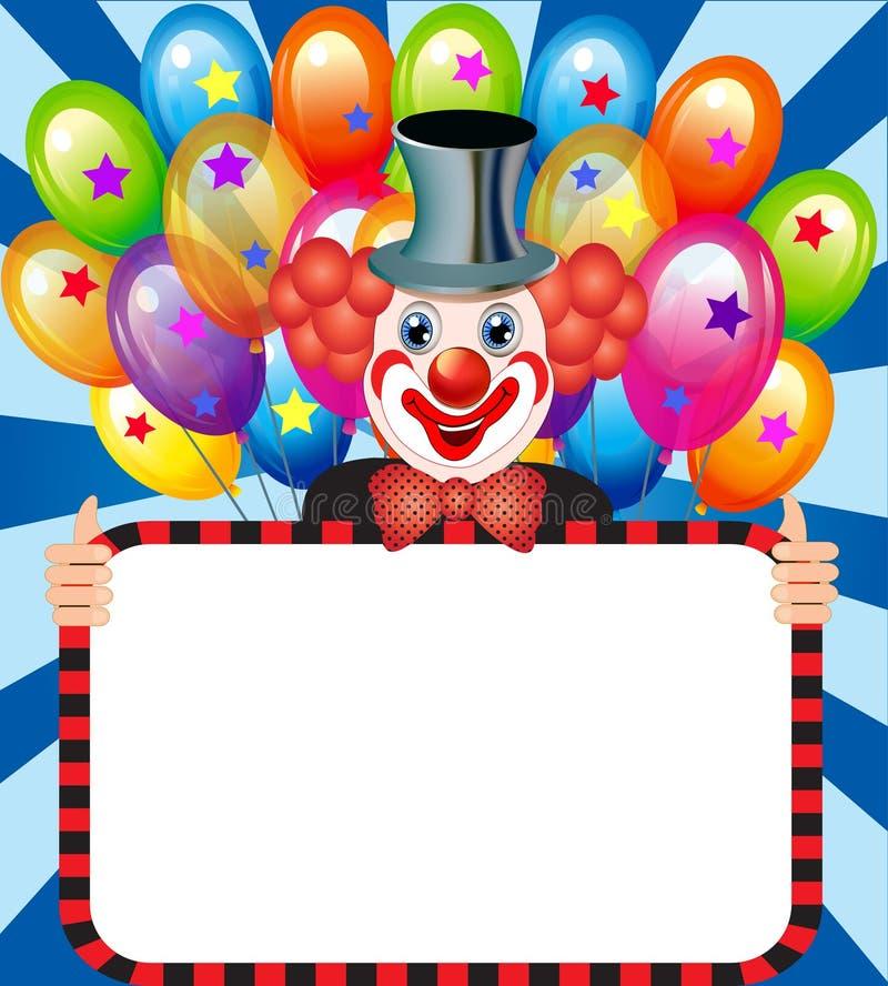 Vrolijke clown die met ballons een affiche houden royalty-vrije illustratie