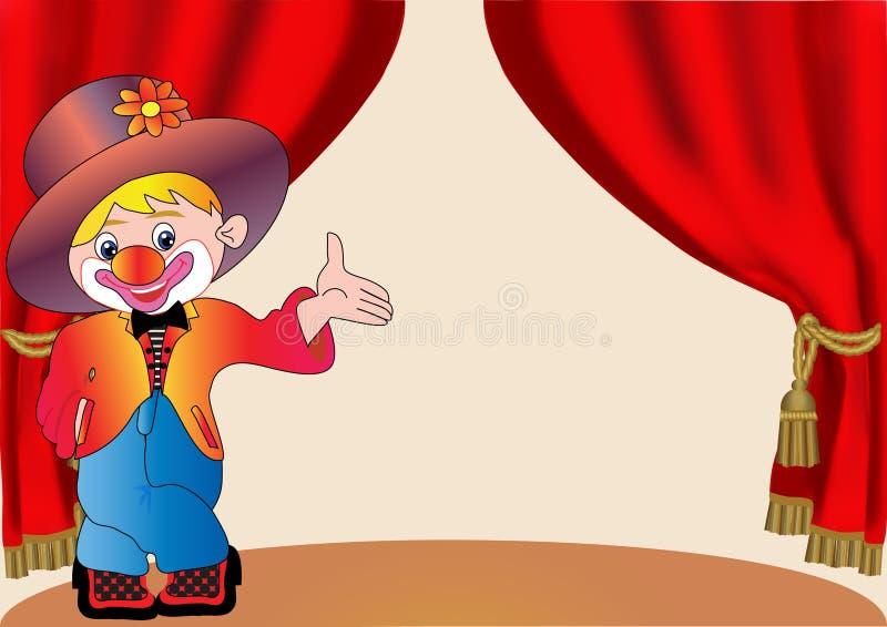 Vrolijke clown op scène met gordijn stock illustratie
