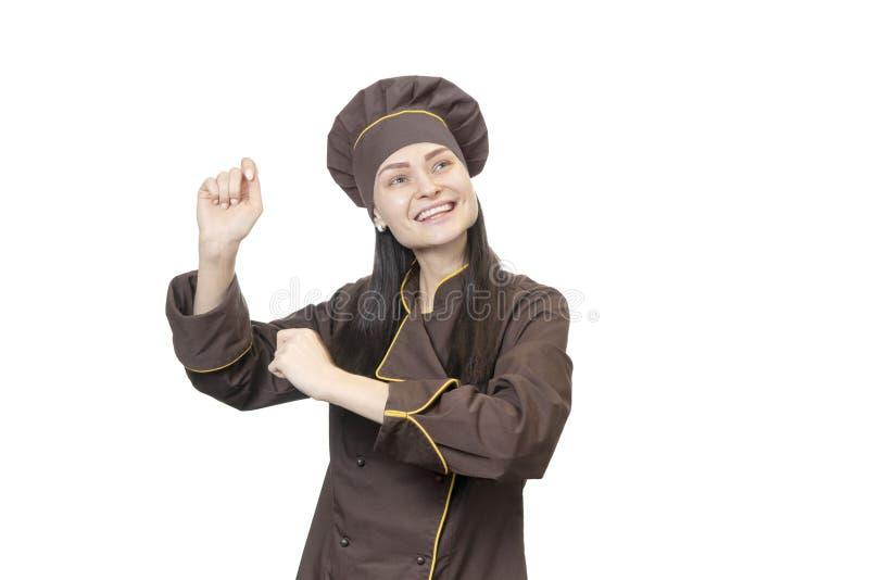 Vrolijke dansende chef-kok royalty-vrije stock foto's