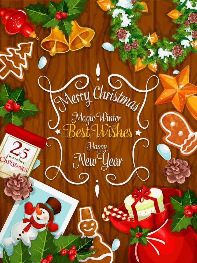 Vrolijke de beste wensen vectoraffiche van het Kerstmisnieuwjaar stock illustratie