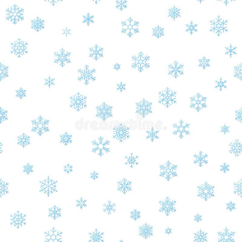 Vrolijke de decoratieeffect van de Kerstmisvakantie achtergrond Het blauwe malplaatje van het sneeuwvlok naadloze patroon Eps 10 royalty-vrije illustratie