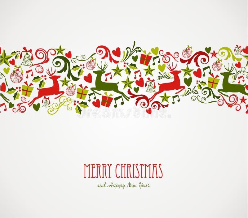Vrolijke de elementengrens van Kerstmisdecoratie. stock illustratie