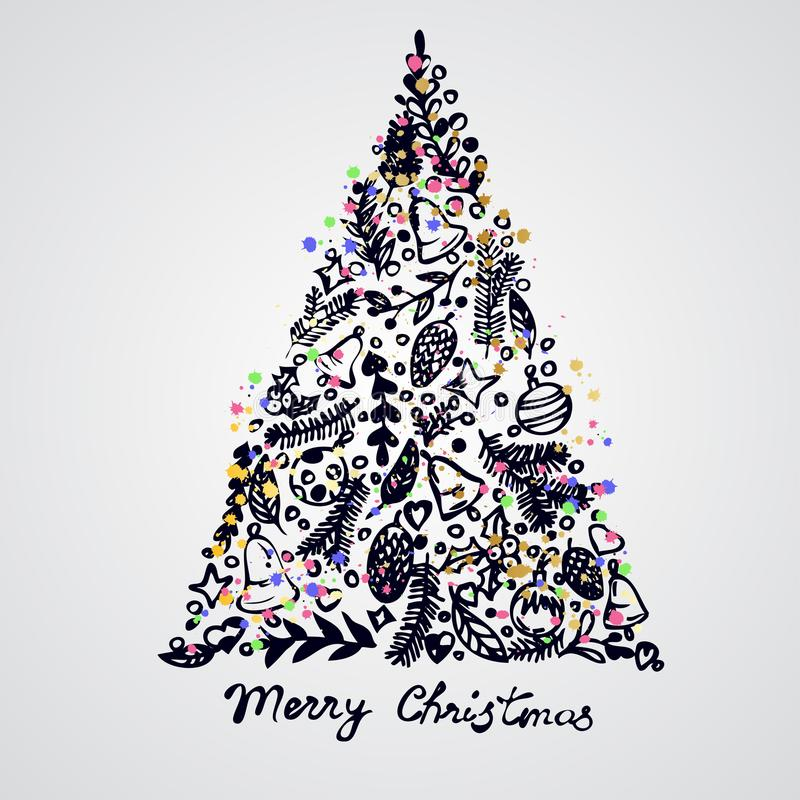 Vrolijke de elementensamenstelling van de Kerstboomdecoratie royalty-vrije illustratie