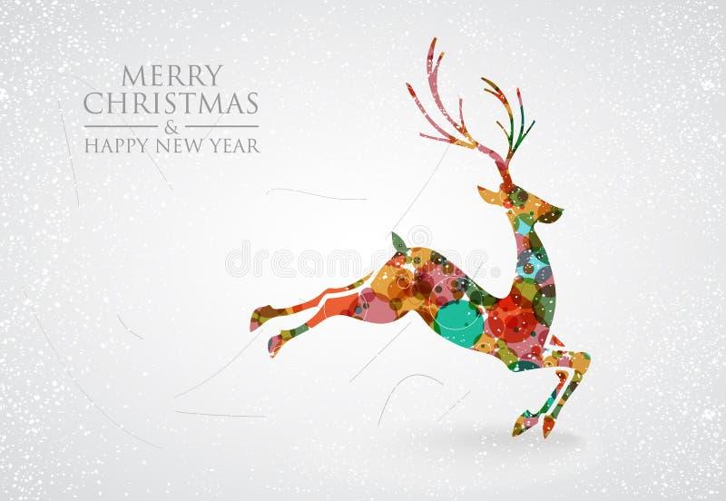 Vrolijke de groetkaart van het Kerstmis kleurrijke rendier stock illustratie
