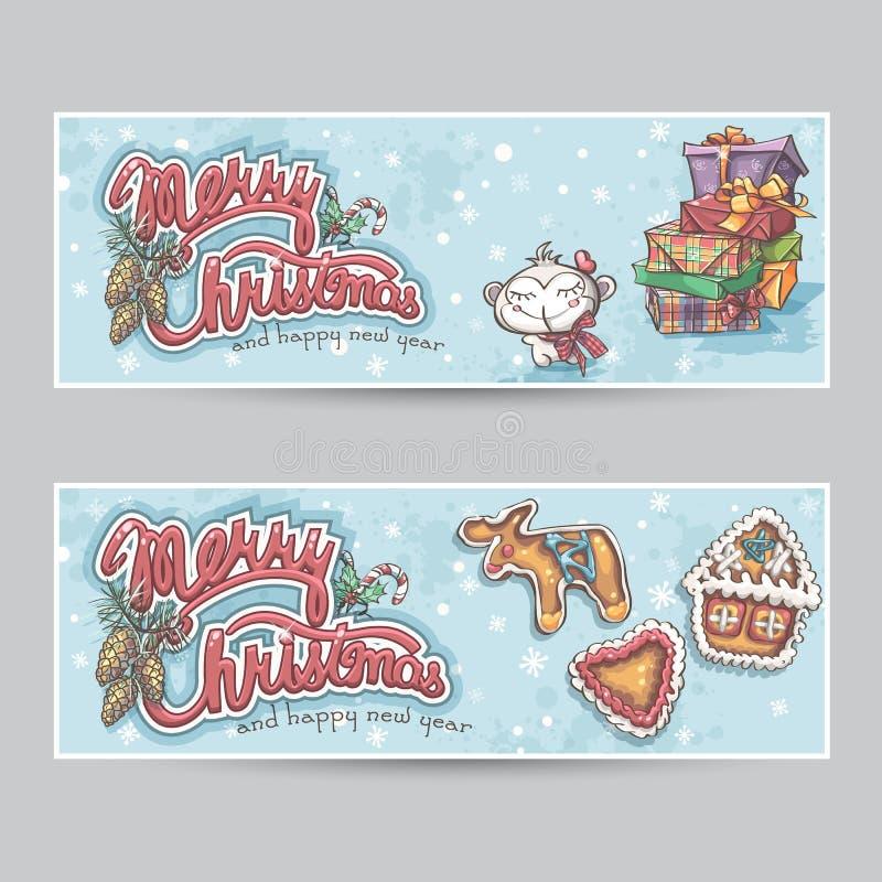 Vrolijke de kaart horizontale banners van de Kerstmisgroet stock illustratie