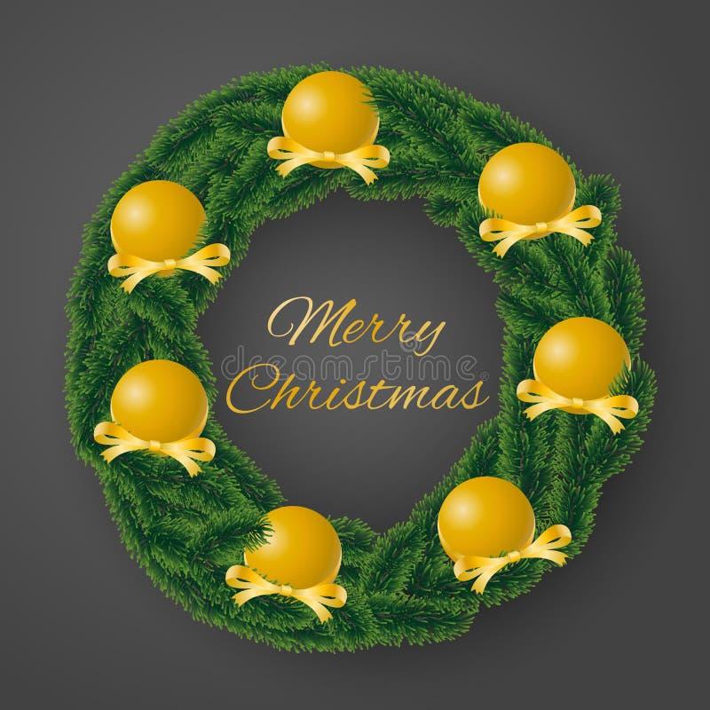 Vrolijke de kaartvector van de Kerstmisgroet van naaldkroon met weelderige gouden bollen en verfraaide linten op grijze achtergro royalty-vrije illustratie