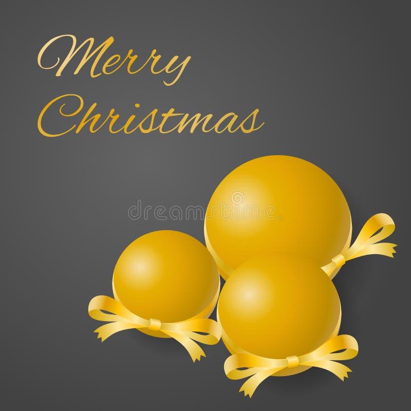 Vrolijke de kaartvector van de Kerstmisgroet van weelderige gouden bollen met verfraaide linten op grijze achtergrond vector illustratie