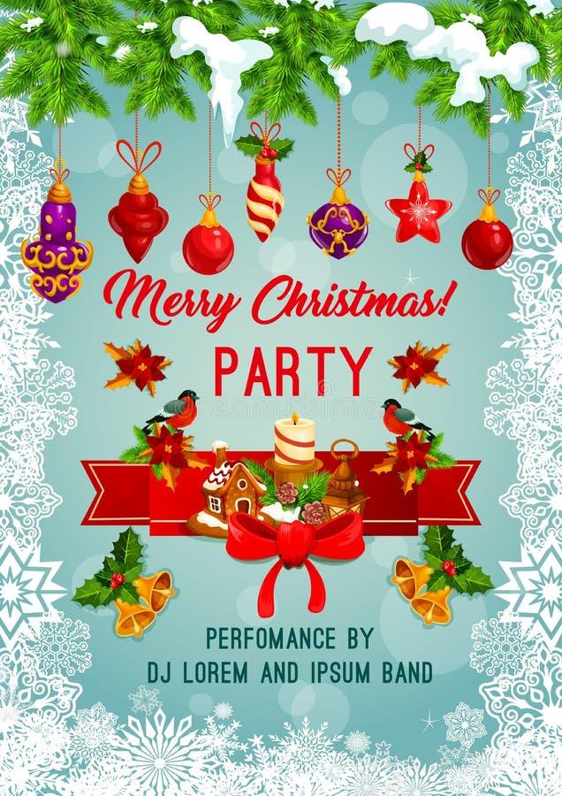 Vrolijke de partij vectoraffiche van de Kerstmisvakantie royalty-vrije illustratie