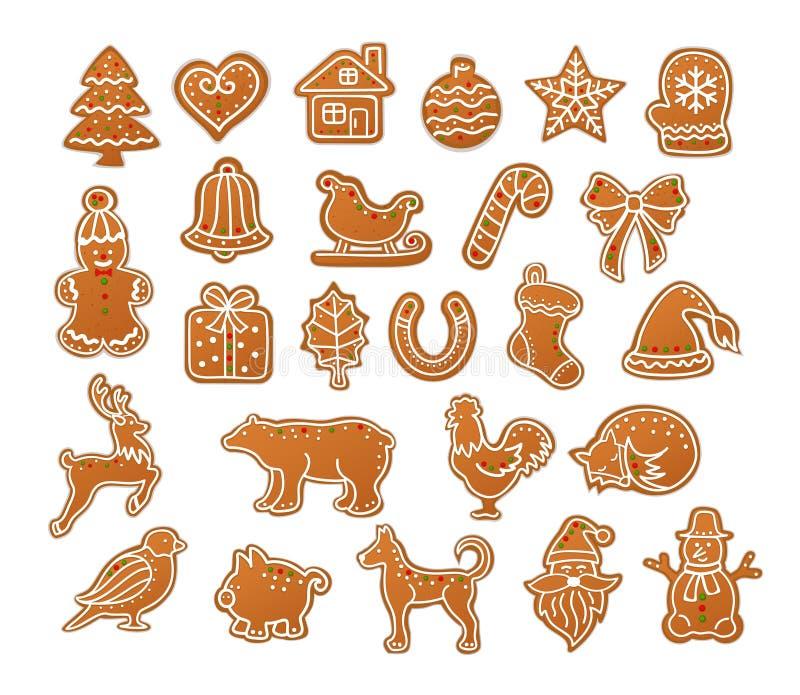 Vrolijke de Peperkoekkoekjes van de Kerstmiswinter vector illustratie