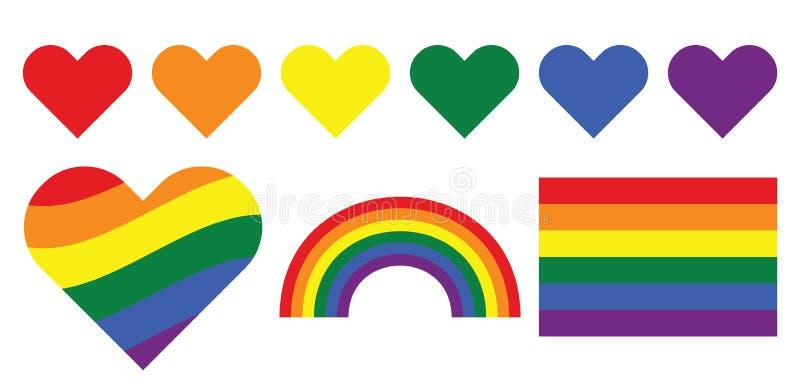 Vrolijke de regenboogsymbolen van LGBT royalty-vrije illustratie