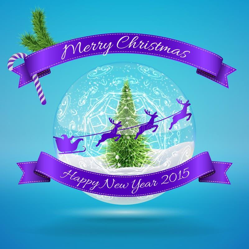 Vrolijke de Sneeuwbal van het Kerstmisglas met Kerstmis treem vector illustratie