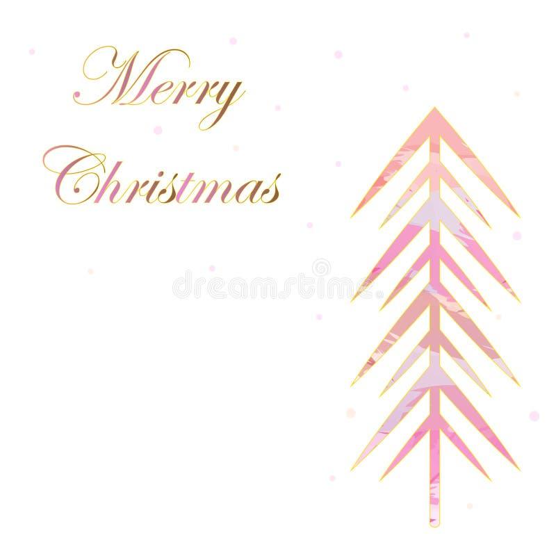 Vrolijke de sneeuwvlokken witte achtergrond van de Kerstkaart roze boom royalty-vrije illustratie
