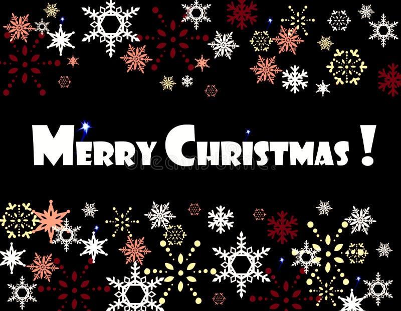 Vrolijke de sneeuwvlokkenkaart van Kerstmis royalty-vrije stock afbeelding