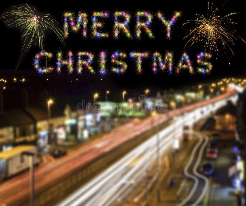 Vrolijke de Stads Lichte Slepen van Londen van het Kerstmis Kleurrijke Vuurwerk stock afbeelding
