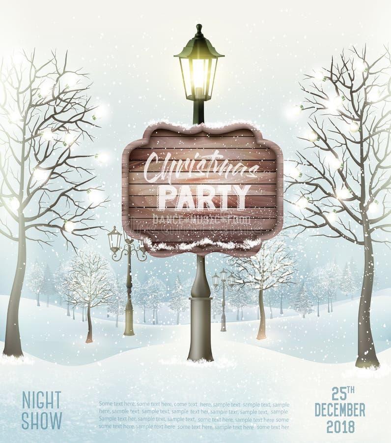 Vrolijke de Vliegerachtergrond van de Kerstmispartij met de winterlandschap stock illustratie
