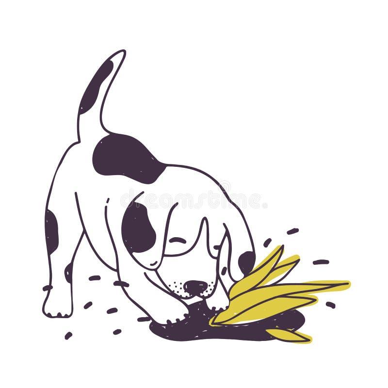 Vrolijke dichtbij gecultiveerd van de hond gravende grond installatie Vermakelijk ongehoorzaam die puppy of van een hond op witte vector illustratie