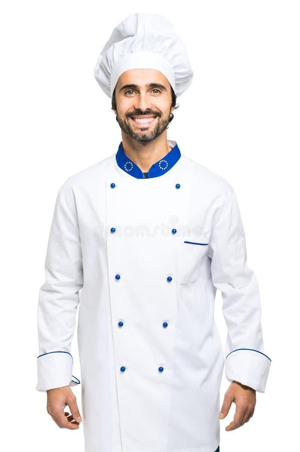 Vrolijke die chef-kok op wit wordt geïsoleerd stock foto