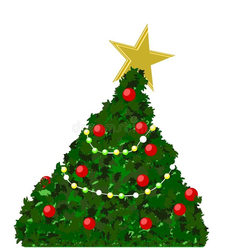 Vrolijke die Kerstboom met gouden die de bollichten van de sterkleur wordt verfraaid en op wit met ruimte voor teksten wordt geïs royalty-vrije illustratie