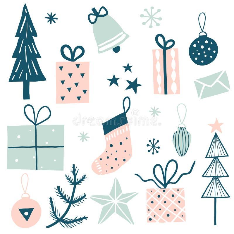 Vrolijke die Kerstmis met decoratieve de winterelementen wordt geplaatst stock illustratie
