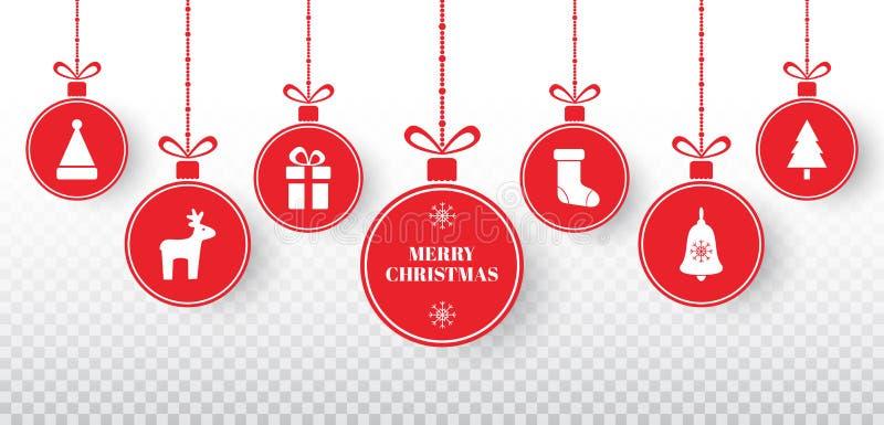 Vrolijke die Kerstmisballen op transparante achtergrond worden geplaatst Heldere rode hangende Kerstmisballen met Kerstmanhoed, r stock illustratie