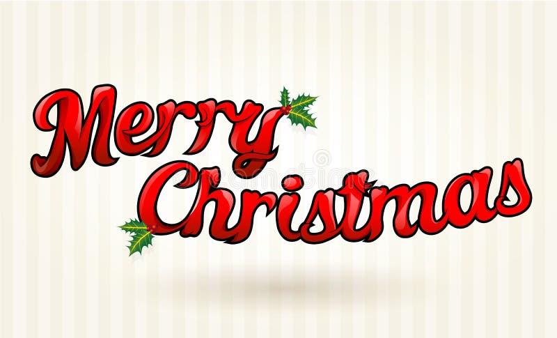 Vrolijke die Kerstmistekst aan details wordt uitgewerkt. Vectorart. royalty-vrije illustratie