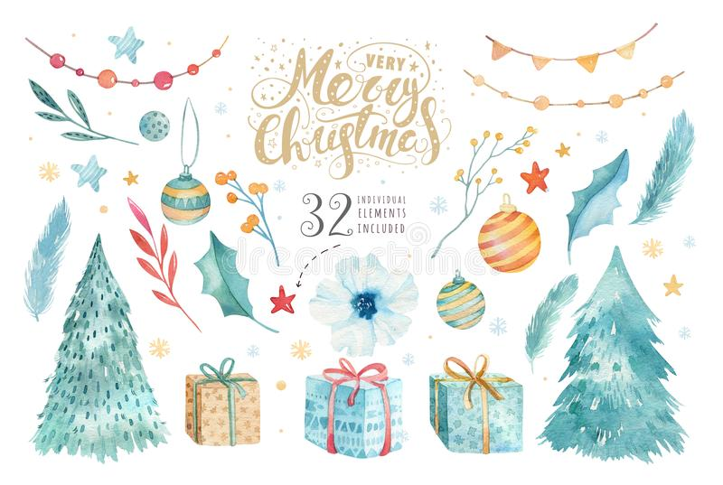 Vrolijke die Kerstmiswaterverf met bloemenelementen wordt geplaatst Gelukkige Nieuwjaar het van letters voorzien afficheinzamelin royalty-vrije illustratie
