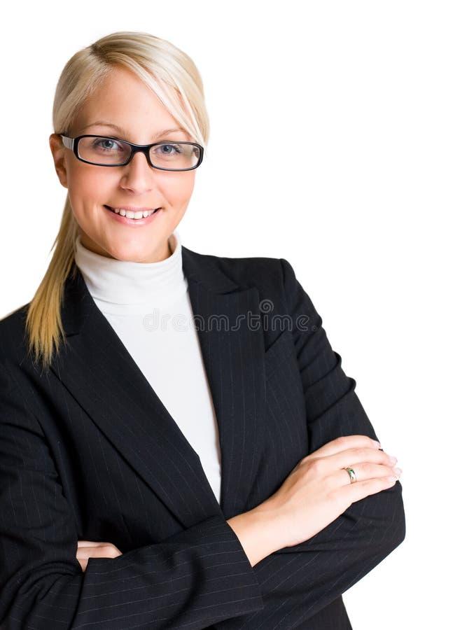 Vrolijke elegante bedrijfsvrouw. stock afbeelding