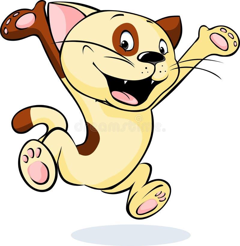 Vrolijke en gelukkige kattensprongen - vector stock illustratie