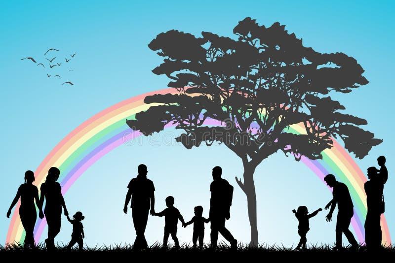 Vrolijke en lesbische paren en familie met kinderen stock illustratie