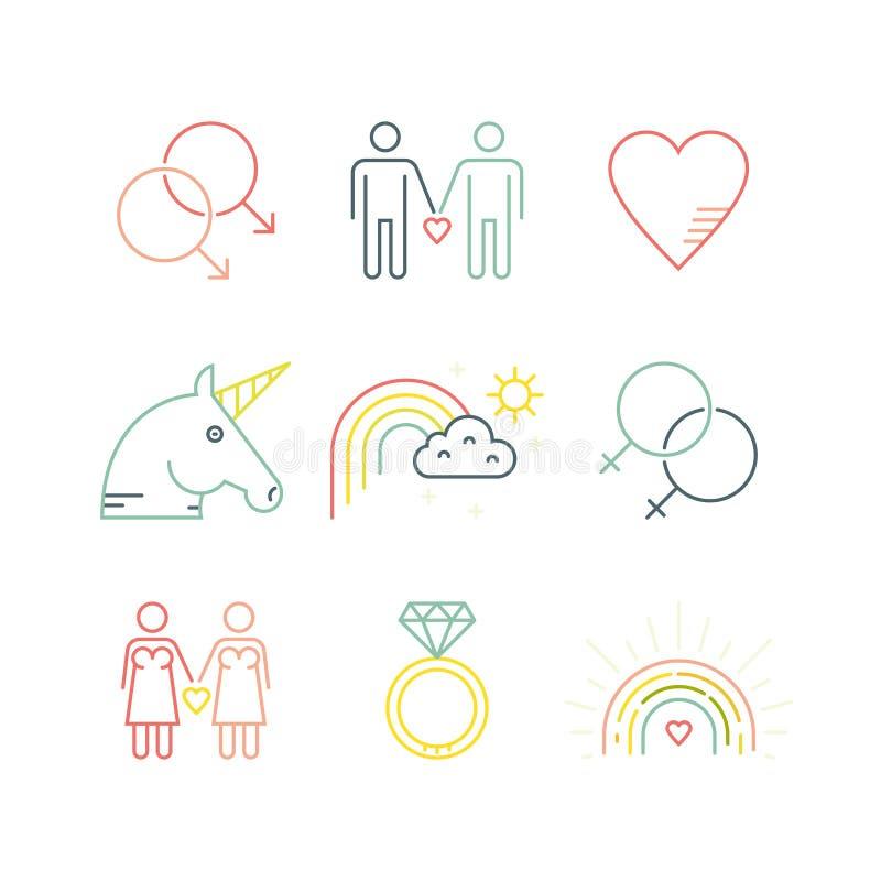 Vrolijke en Lesbische pictogrammen vector illustratie