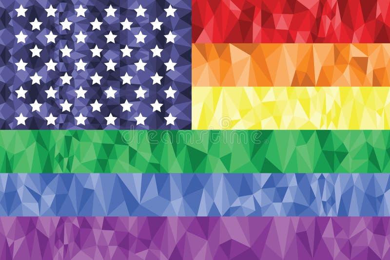 Vrolijke en Lesbische regenboogvlag in polykunstpictogram met het element van Verenigde Staten stock illustratie