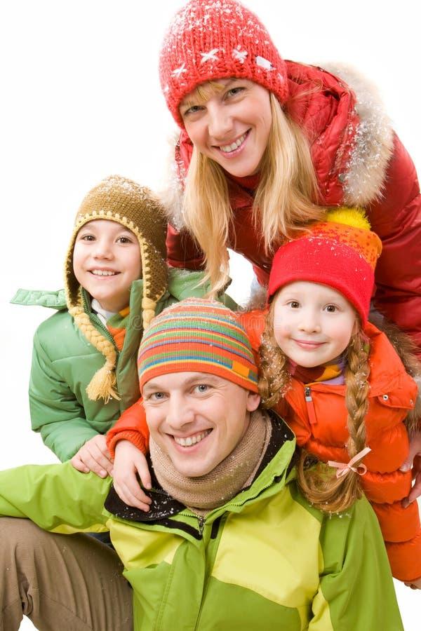 Vrolijke familie stock afbeeldingen