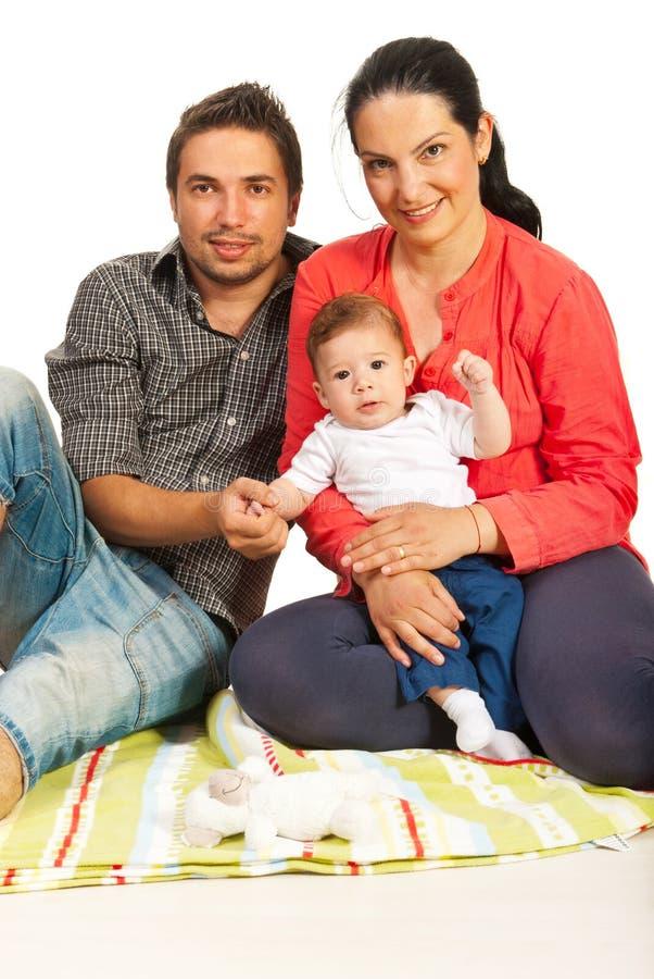 Vrolijke familie met baby royalty-vrije stock fotografie