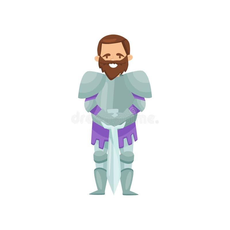 Vrolijke gebaarde ridder die zich met zwaard bevinden Middeleeuwse strijder in glanzend metaalpantser r Vlak vectorontwerp vector illustratie